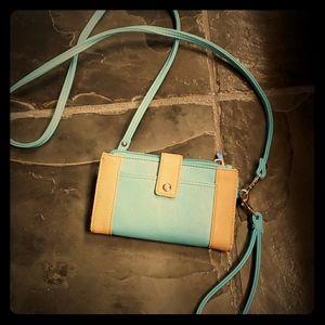 Aqua and tan wallet